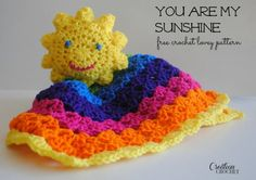 You Are My Sunshine Lovey, #crochet, free pattern, baby, #freecrochetpattern #cre8tioncrochet, #haken, gratis patroon (Engels), tutteldoekje zon, kraamcadeau, #haakpatroon