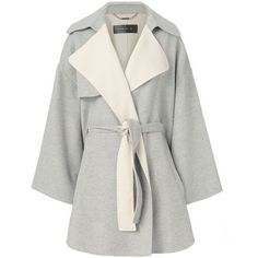 Barbara Bui Belted Poncho ($1,875) ❤ liked on Polyvore featuring outerwear, grey, barbara bui, gray poncho, style poncho, wool ponchos and grey wool poncho