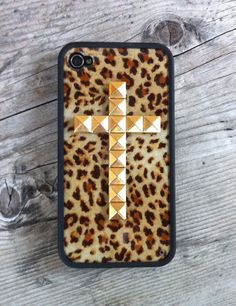 Just got this super cute leopard print iPhone 4S case with gold studded cross from Wildflower!