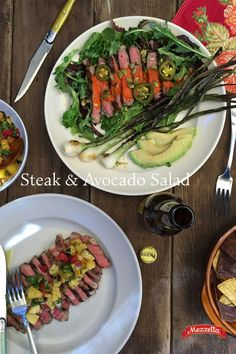 Spice up your Cinco with this Steak and Avocado Salad. Grilled spring onions and a roasted red pepper dressing make the simple salad muy bueno. Learn how!