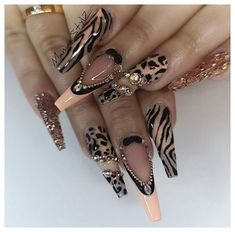 32 super cute nail art ideas for long nails in 2019 00103 Dope Nails, Glam Nails, Fancy Nails, Bling Nails, Coffen Nails, Nail Swag, Fabulous Nails, Gorgeous Nails, Jolie Nail Art