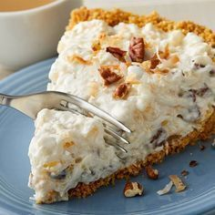 """Creamy coconut, sweet pineapple and savory pecans. These are just three of the """"riches"""" this dessert has to offer, if you catch our drift. Great Desserts, No Bake Desserts, Delicious Desserts, Yummy Food, Coconut Desserts, Lemon Recipes, Pie Recipes, Dessert Recipes, Cooking Recipes"""