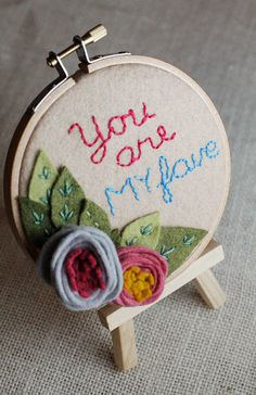 You Are My Fave Felt Embroidery Hoop Art  Wall by CatshyCrafts, $41.00