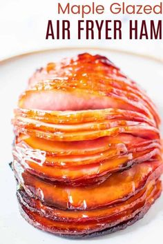Maple Glazed Air Fryer Ham - so quick and easy to prepare and serve, enjoy this delicious boneless ham for a small holiday meal or even a simple weeknight dinner. The three-ingredient maple Dijon glaze gives the smoky ham a sweet and tangy flavor the entire family will love! Kale Chip Recipes, Ham Recipes, Sweets Recipes, Air Fryer Recipes, Cooking Recipes, Boneless Ham Recipe, Baked Ham With Pineapple, Maple Glazed Ham, Leftover Ham