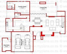 3 Bedroom House Plan - My Building Plans South Africa Simple House Plans, My House Plans, Open Plan Kitchen Dining, Open Plan Living, My Building, Building Plans, House Plans South Africa, Circle House, 4 Bedroom House Plans