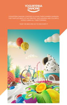Yogurteria Danone confided us again their summer campaign.they raffled bikes, so we created and amazing and colorfulworld using all their toppings.take the bike and go to discover it!Agency: Microbio GentlemanArt direction and Creativity: Conspirac…