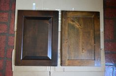 (re)Staining vs. painting cabinets. Keep the grain, lose the old color. #younghouselove