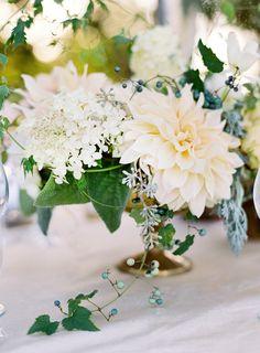 Get the best dahlia wedding centerpiece ideas. These dahlia arrangements offer plenty of pretty floral inspiration. Dahlia Centerpiece, Flower Centerpieces, Centrepieces, Simple Centerpieces, White Dahlias, White Flowers, Fall Flowers, Floral Flowers, Mod Wedding