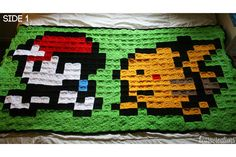 Pokemon Ash and Pikachu Pixel Crochet Blanket by KearaCreations (Blanket is made up of 558 individually crocheted squares)