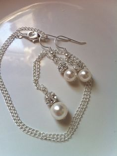 Pearl and Rhinestone Bridal Necklace and by AnaInspirations, $24.00