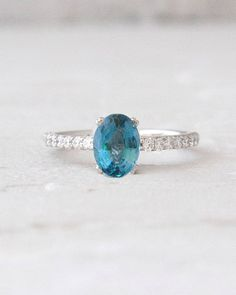 Oval Cut London Blue Topaz and Diamond 14k White Gold Ring Birthstone Jewelry Anniversary Ring