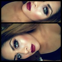 Brown Shadows, 35 lashes and Deep Burgundy Lips. Fall trend, according to me lol - Delaune Delaune Fernandez- Kiss Makeup, Love Makeup, Makeup Tips, Beauty Makeup, Makeup Looks, Hair Makeup, Hair Beauty, Makeup Ideas, Glam Makeup