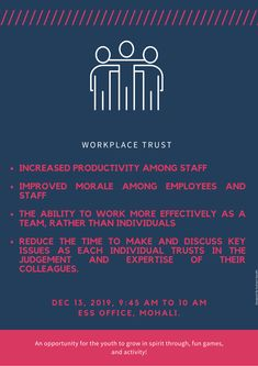 Trust in workplace is key to success for both company and organization. There is key point why it is important to have trust building exercise in office. There is plethora of ways to do it and you can do it within office timings as well. Work hard, build trust and make success. Digital Marketing Services, Email Marketing, Content Marketing, Social Media Marketing, Increase Productivity, Local Seo, A Team, Workplace, Work Hard