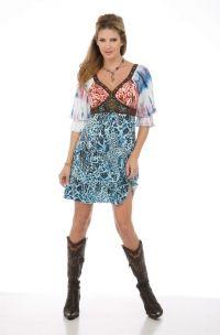 Multi Color Western Short Dress