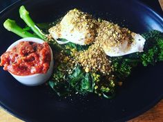 Finally got up to #swell for the first time for breakfast green eggs poached on pesto broccolini spinach and Dukkah with a side of kusundi #yum #breakfast #healthy #vegetarian #surfcoast #janjuc by chefjamwafootty http://ift.tt/1X8VXis