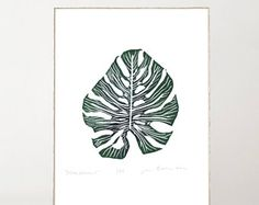 Monstera Leaf Print, Linocut, Plant Print, Tropical Leaves, Botanical Prints, Monstera deliciosa, Monstera Art Print, Original, Trending Now