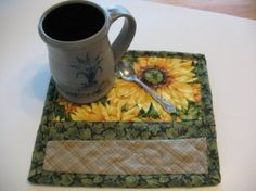 Quilted Sunflower Mug Rugs or Personal Mat by SweetDreamsbyMoosie, $12.00 by judith