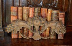 Antique German Carved Oak Wood Plaque Pediment Trim Fruit Grapes Cornucopia Beautiful Find by VintageFleaFinds on Etsy