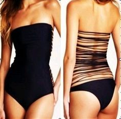 B113 VS Bikini Vintage Swimwear Sexy One Piece Biquinis Black Swimsuit For Women Beach wear Brand Bathing Suits 2014
