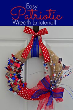 DIY Fourth of July Wreath | For more of these great colors take a look at our Red, White and Blue board. #Crafts #Home_Decor