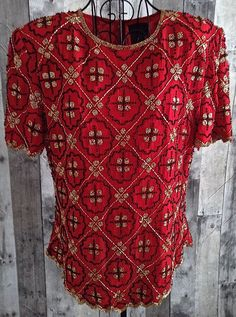 Marina Bresler  Beaded Top Blouse 100% Silk Red Geometric Fully Lined Large…