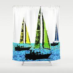 Sailboats 1  Shower Curtain