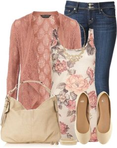 This outfit would look good on me! I used to have a sweater in that color when I was a teenager. Flattering mauve-pink for me.
