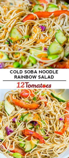 A chilled, veggie-filled salad that's ready in Soup And Salad, Pasta Salad, Spaghetti Salad, Soba Salad, Tortellini, Asia Food, Rainbow Salad, Mango, Soba Noodles