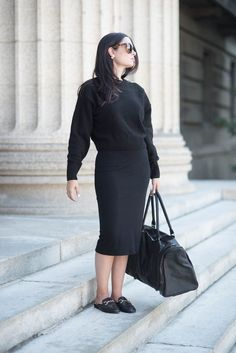 All black! Featuring The Columbus leather weekend bag from MAHI Leather.