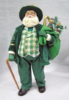 "Vtg 1990s Dapper Irish Santa Kurt Adler KSA 11"" Green Ireland Fabriche Figurine by MermeowTreasures on Etsy"