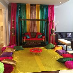 Just walked into my second Bridal appointment and I& loving the setup so colourful & ! mehndidecor pakistanimehndi dholki bridalstyle… is part of Desi wedding decor - Desi Wedding Decor, Wedding Hall Decorations, Marriage Decoration, Diwali Decorations, Decoration Home, Housewarming Decorations, Ethnic Home Decor, Indian Home Decor, Mehendi Decor Ideas