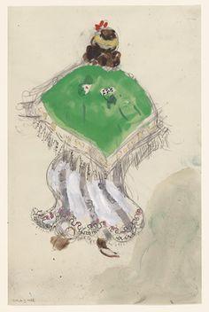 Marc Chagall. A Gypsy. Costume design for Scene I of the ballet Aleko. (1942)