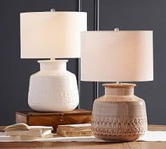 Jamie Young Emma Ceramic Round Table Lamp - All For Lamp İdeas Table Lamp Base, Lamp Bases, Table Desk, White Table Lamp, Wood Table, Pottery Barn Table, Adjustable Table, Ceramic Table Lamps, Unique Lighting