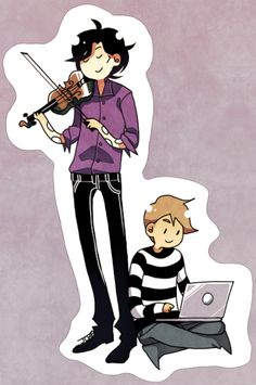 Chibi Sherlock and Watson dutifully doing what they do best.
