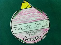 After a Christmas Around the World unit, students write a fact about Christmas in each country on an ornament. Attach them to a tree and you have a great hallway display of your learning!