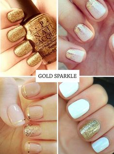 Gold and White Wedding. Manicure, Pedicure, Nails. Gold nails - glitter nail ideas and golden nail art