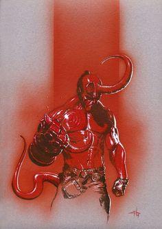 """Hellboy arts collection    lospaziobianco:      1) Hellboy by Jimmy Kerast    2) HellBoyby *AdamHughes    3) Hellboyby `pacman23 on Tumblr    4) HELLBOYby ~ekoputeh    5) Hellboy Reduxby ~mangrasshopper    6) Hellboy Jr's pancakesby *ChristopherStevens    7) Batman and Hellboyby *ChristopherStevens    8) """"Spider-Man , Hellboy""""by ~SURFACEART on Tumblr    9) HellBoy Fan artby ~XAV-Drawordie on Tumblr    10) Hellboy by Gabriele Dell'Otto     (via zuppadivetro)"""