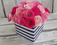 Items similar to Hot Pink, Pink and Orange Paper Roses with Black & White Stripes Ribbon Medium Black Box Favors Boxes - 10 Boxes - Bridal Shower, Birthday on Etsy Flamingo Birthday, Barbie Birthday, 50th Birthday Party, Birthday Quotes, Kate Spade Party, Paper Flower Centerpieces, Paper Flowers Diy, Centerpiece Wedding, Black And White Ribbon