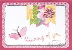 Thinking of you card using the pocket card icon on the Artfully Sent Cricut cartridge