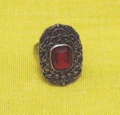 Vintage UNCAS Sterling Silver Marcasite Red stone Ring Art Deco style size 7 #Uncas #Cocktail