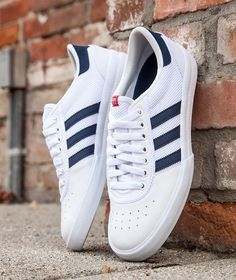 Adidas Men's Lucas Premiere ADV in white, collegiate navy, & scarlet is available for $75. Visit us at BAITme.com/footwear to purchase. #adidas #adidaspremiereadv #baitme #bait