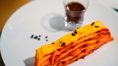 Chef Elena Reygadas of Mexico City's Rosetta created a dessert of strawberry and mango mille feuille alongside a cacao shot for a Cinco de Mayo Celebration.