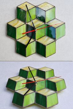 Wall Clock 3d cube green lime yellow  Unique Wall by ZangerGlass