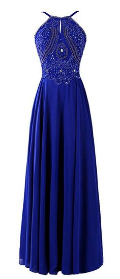2016 Custom Charming Royal Blue Prom Dress, Sexy Halter Evening Dress, Shining…