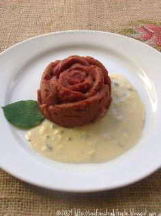 Sformatini di patate e barbabietola su zabaione al gorgonzola