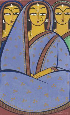 JAMINI ROY (1887-1972) | Untitled (Three Women) | South Asian ... Indian Artist, Indian Art Paintings, Jamini Roy, Tribal Art, Madhubani Art, Dot Art Painting, Historical Art, Art, Painting Art Projects