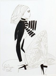 Jane Ryan 'Scarf' #art #blackandwhite #drawing #design #painting #JaneRyan #DukeStreetGallery Ink Pen Drawings, Vogue Australia, Textile Design, Street Art, Illustration, Artist, Painting, Fashion, Moda