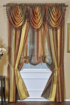 The Ombre Tasseled Waterfall Valance is a victorian-inspired window valance with lots of options. It's lovely semi-sheer fabric comes in array of colors to best complement your décor. The Ombre Collection Scarf Valance, Window Scarf, Curtain Scarf Ideas, Rod Pocket Curtains, Drapes Curtains, Curtain Panels, Window Panels, Ombre Curtains, Elegant Curtains