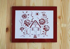 Cottage House with Hungarian Folk Art Flowers A5 by PaperartByAnni