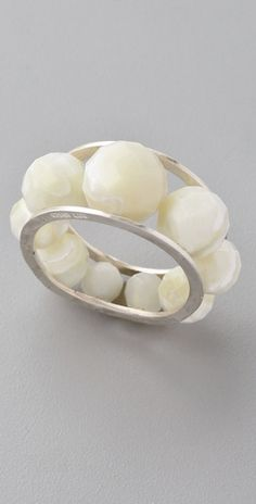 Chan Luu, Mother Of Pearl Ring, mother-of-pearl beads, sterling silver bands